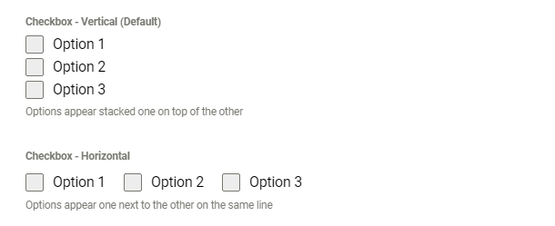 Examples of alignment options in Forminator checkbox field