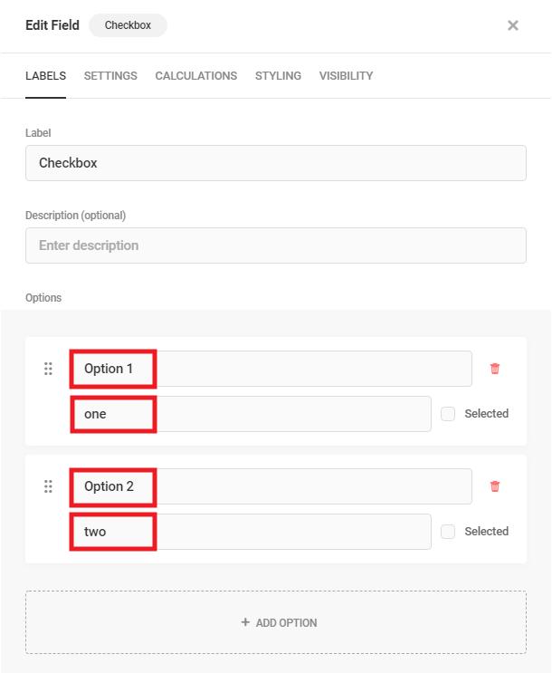 Edit Checkbox field labels in Forminator