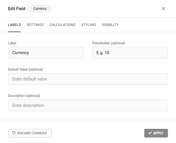 Edit Currency field labels in Forminator