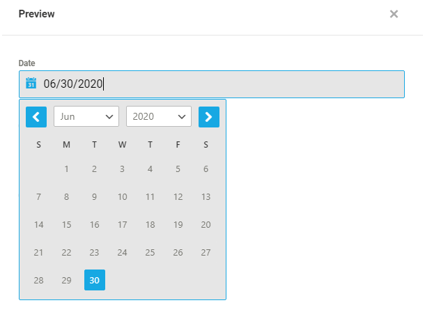 Default calendar format in a Forminator Datepicker field