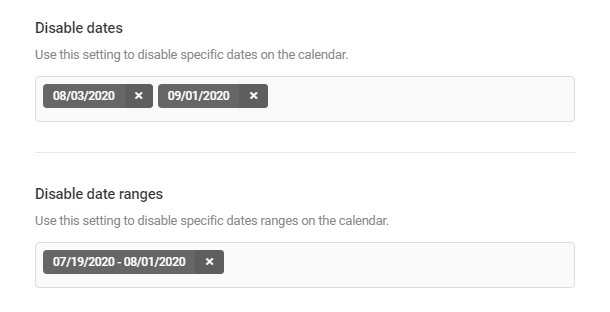 Disable dates or date ranges in Forminator Datepicker field