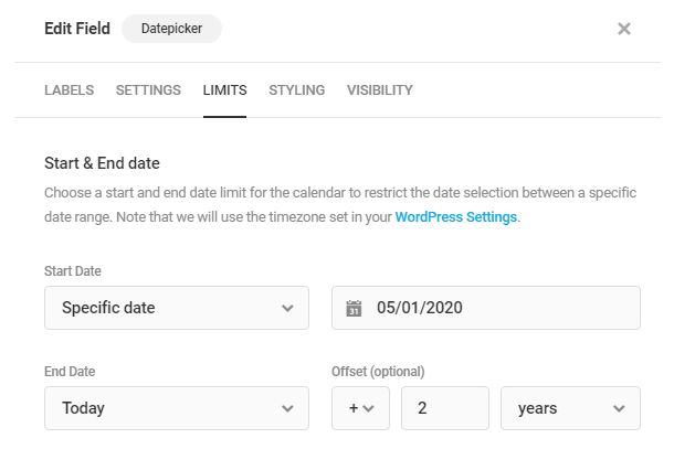 Set start and end dates in Forminator Datepicker field