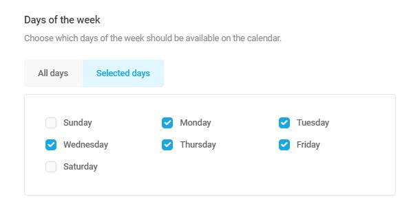 Set available weekdays in Forminator Datepicker field