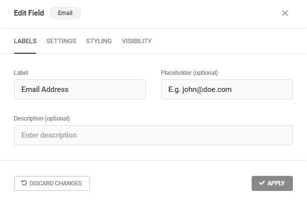 Edit Email field labels in Forminator