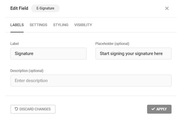 Edit labels in Forminator E-Signature field