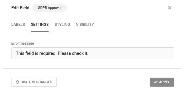 Edit GDPR error message in a Forminator form