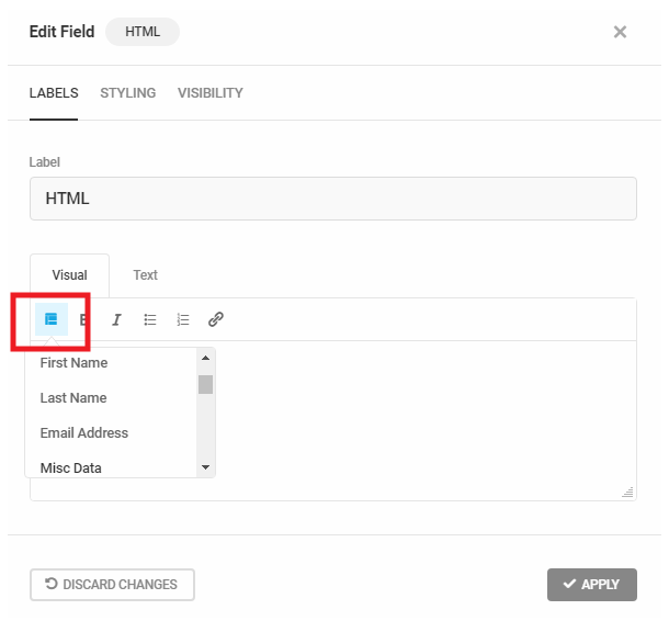 Use Forminator form merge tags in a HTML field