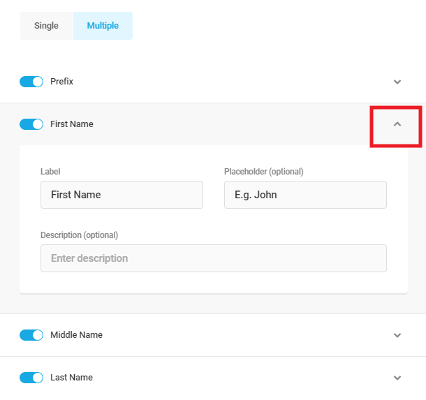 Using multiple name option for Forminator Name field