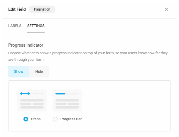 Set progress indicator for pagination in a Forminator form