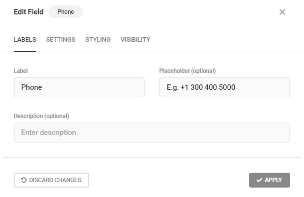 Edit Phone field labels in Forminator