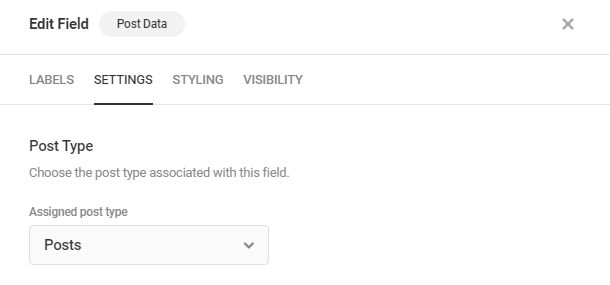 Select post type in Forminator Post Data field