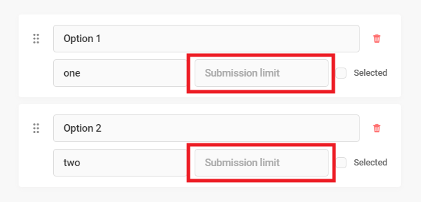 Set submission limit for each option in Forminator Select field