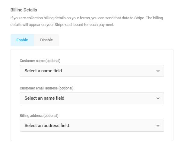 Send billing details to Stripe in Forminator Stripe field