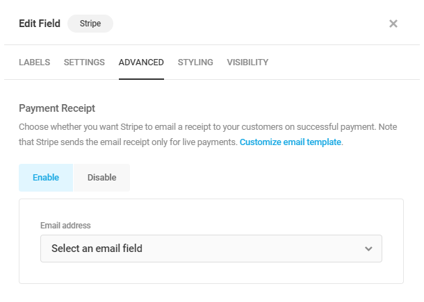 Activez le reçu de paiement dans le champ Forminator Stripe