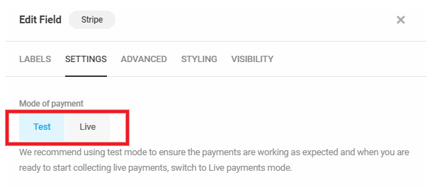 Set payment mode in Forminator Stripe field