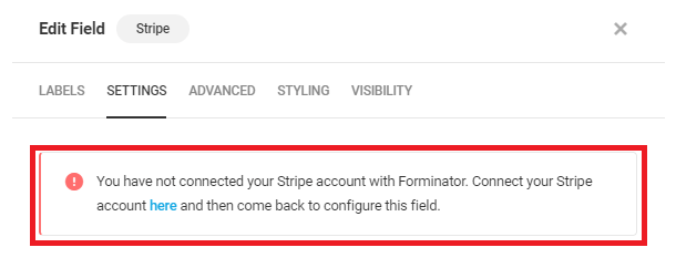 Alert if no account connected in Forminator Stripe field