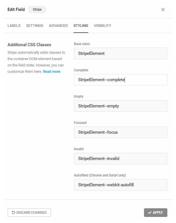Edit Stripe CSS classes in Forminator Stripe field