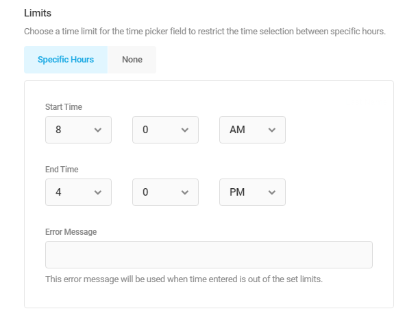 Set start and end times in a Forminator Timepicker field