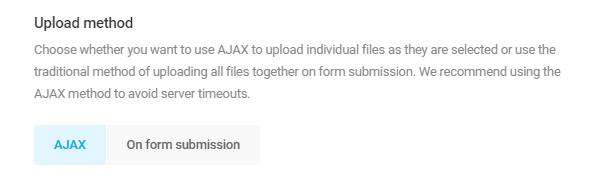 Select upload method in Forminator File Upload field