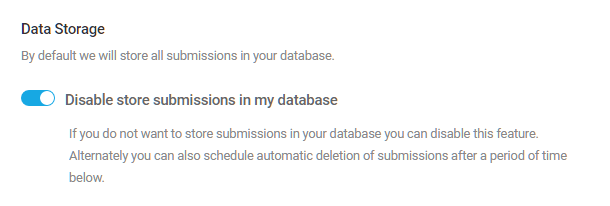 Disable data storage for Forminator form