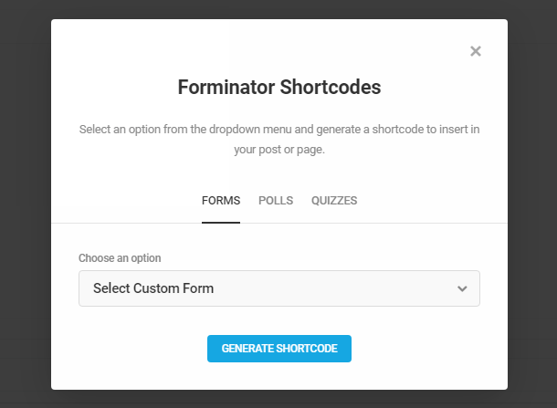 Select Forminator form to add to a post in the Classic editor