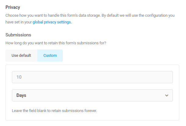 Adjust form submission retention time in Forminator