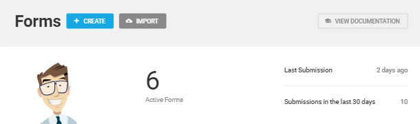Forms tab overview in Forminator