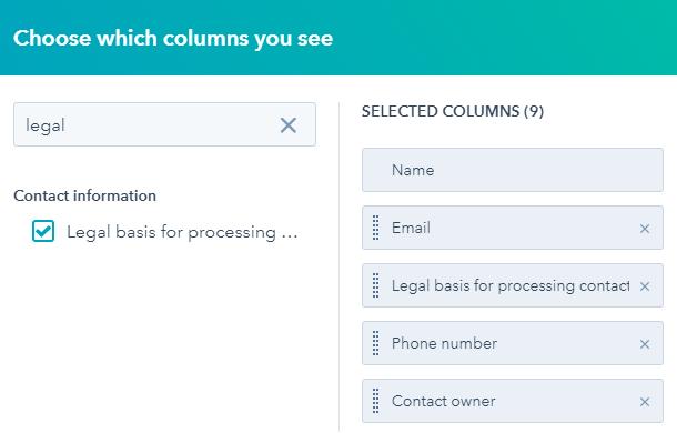 Arrange list columns in Hubspot