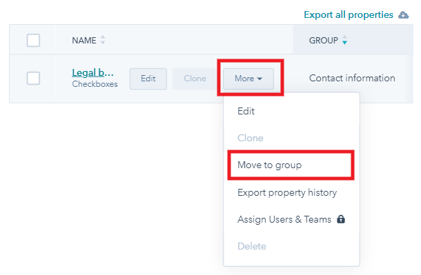 Move property to group in Hubspot
