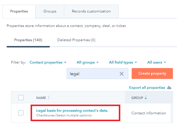 Select property in Hubspot