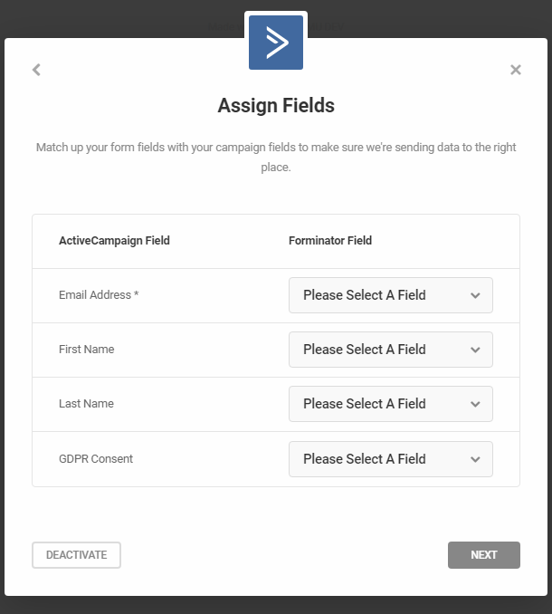 Match fields in Forminator form with ActiveCampaign