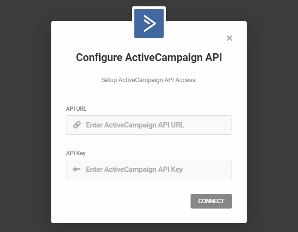 Enter ActiveCampaign API credentials for integration with Forminator
