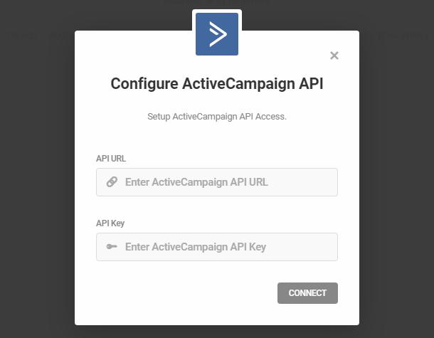 Enter ActiveCampaign API credentials for integration with Forminator