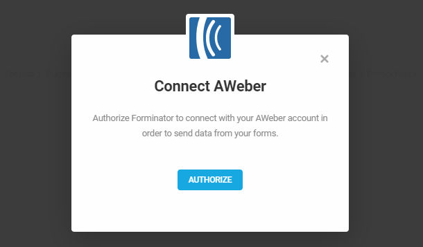 Authorize Aweber for integration in Forminator
