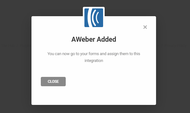 Aweber successfully integrated in Forminator