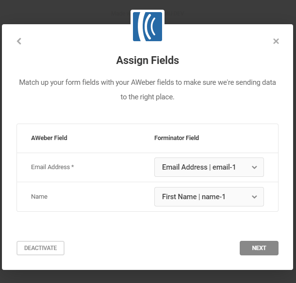 Assign list fields for Aweber integration in Forminator