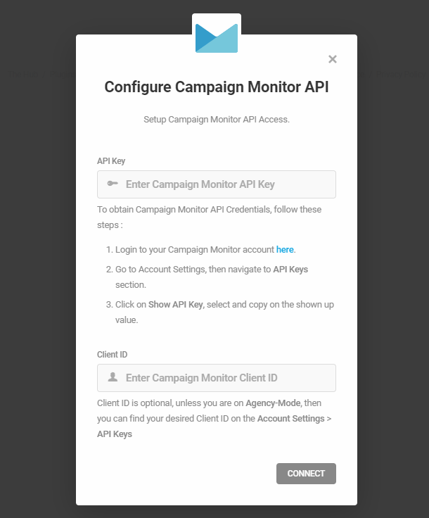 Enter Campaign Monitor API key for integration with Forminator