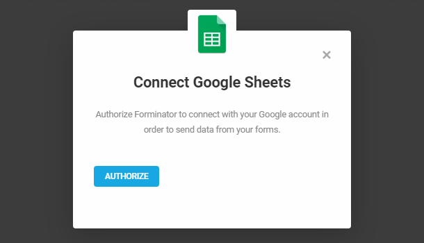 Authorize Google sheets integration in Forminator