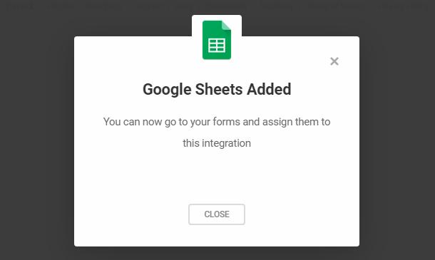 Google sheets integration in Forminator complete