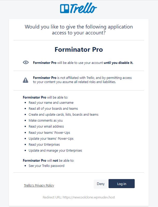 Authorize Trello for integration in Forminator