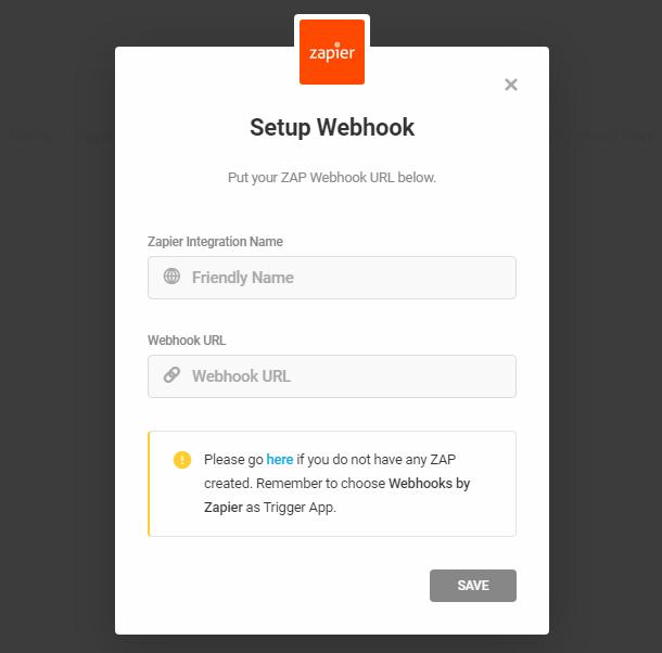 Enter Zapier webhook for integration in Forminator form