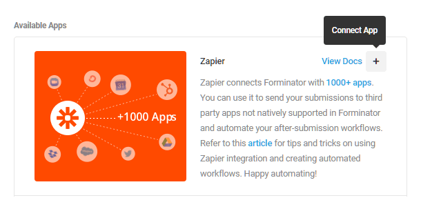 Integrate Zapier in Forminator