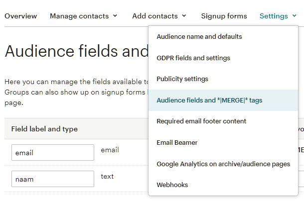 Audience input fields at MailChimp for Forminator integration