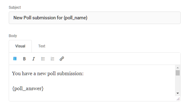 Customize subject and body in Forminator poll email notification