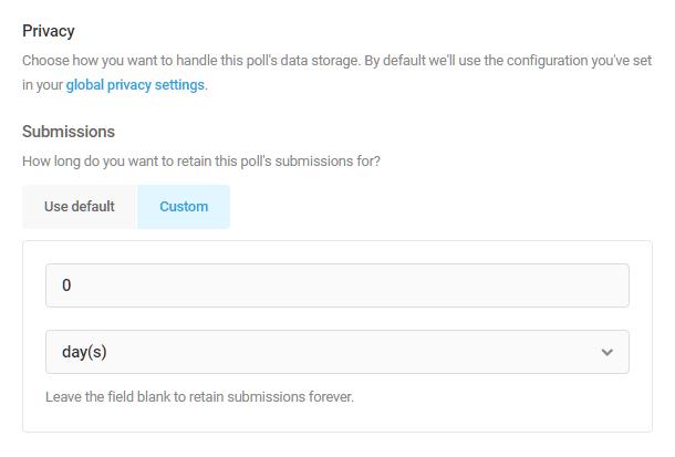 Set data storage duration in Forminator poll