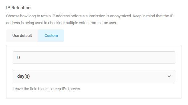 Set duration of IP address retention in Forminator poll