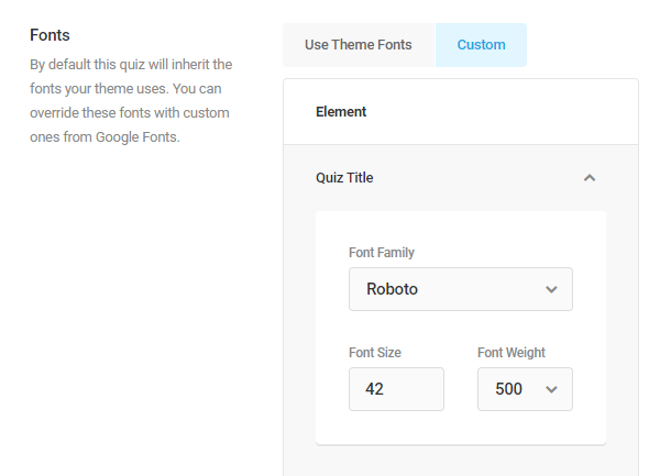 Adjust fonts in Forminator quiz