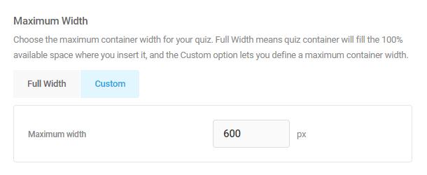 Adjust layout width in Forminator quiz