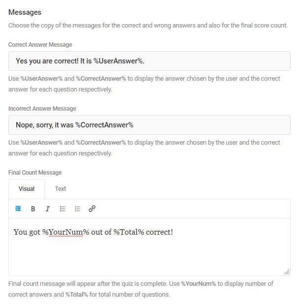 Customize messages in a Forminator quiz