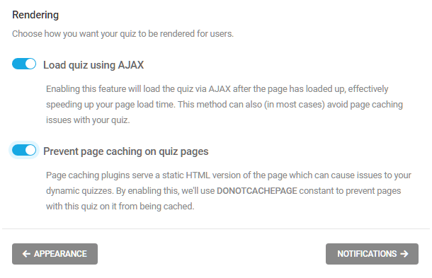 Select how to render a quiz in Forminator